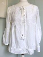 MINT VELVET White Embroidered Tassel Neck Tie Kaftan Top UK 14 Cotton 3/4 Slvs