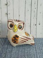"Vintage TONALA Mexican Small Ceramic Folk Art Hand Painted Pottery OWL Signed 3"""