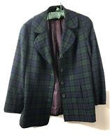 Pendleton Women's Blazer Navy Green Tartan Plaid Virgin Wool Size 16 Vintage