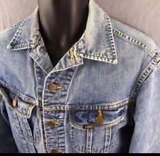 Vtg Lee Riders Sanforized Jean Jacket S Black Label Denim Coat Union Made in USA