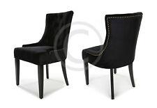 Black Velvet Dining Chair Button Tufted Gold Brass Studs Premium Quality