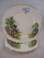Royal Vale Country Cottage Side Plates x 2 15.5 cm Bone China Vintage British