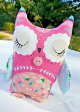 New hand-made fabric owl bookend / toy / doorstop. Pink/aqua with button detail