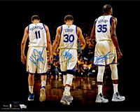 Curry, Thompson, Durant Golden State Warriors - Autographed 8x10 Photo (RP)
