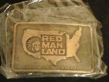 VINTAGE 70S RED MAN LAND BELT BUCKEL BRASSPLATED 2 3/8 X 3 1/4 INCH NIP