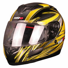 Tuzo Insight Yellow Graphic Motorcycle Full Face Helmet X/Small XS 54cm