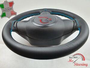 FOR Hyundai i30 07-11 BLACK LEATHER STEERING WHEEL COVER, LIGHT BLUE 2 STIT