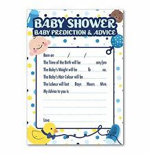 Baby Shower Prediction & Advice Games - Pack of 16 A6 Cards - Blue Dots Theme