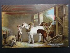English Country Scene INTERIOR OF STABLE c1906 Postcard by Misch & Stock 250