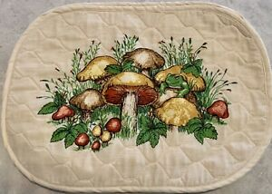 set of 6 retro 1970's mushrooms with happy frog cloth placemats quilted