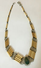 Vintage Stone Porcupine Quill Necklace Native American Green Turquoise