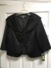Donna Ricco Black Satiny Cropped Formal Jacket NWT Large