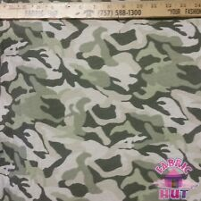 Techno Knit Polyester Poly Spandex Green & Cream Camo Camouflage Fabric by Yard