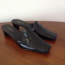 "Liz Claiborne Flex Black Leather Shoes Slide Sz 8 ""Gilda"" Open Back Kitten Heels"