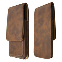 caseroxx Flap Pouch for Sharp A1 in brown made of real leather