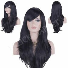 Black Long Wig Fashion Full Curly Wavy Cosplay Human Hair Heat Resistant Wigs