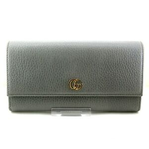 Auth GUCCI GG Marmont 456116 Gray Leather Long Wallet