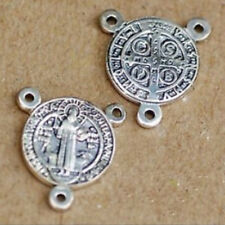 Sterling 925 Silver Crucifix / Rosary / Cross St. Benedict / 1.3x 1.3 cm Medal