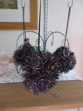 Hand knitted Christmas Tinsel Bauble Black with Blue and Pink