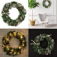 60CM Large PVC LED Light Wreath Home Hotel Shop Door Christmas Xmas Decor