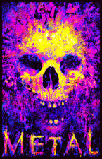 METAL TO THE BONE - BLACKLIGHT POSTER - 24X36 FLOCKED SKULL 2005