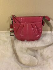 Coach Swingpack 4283 Pleated Bright Pink/Silver Genuine Soft Leather Cross Body