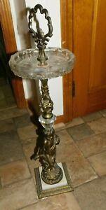 Vintage CRYSTAL ART DECO Cherubs Standing Floor Pedestal Ash Tray