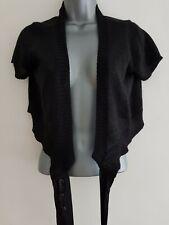 CALVIN KLEIN Women's Black Shiny Open Front Ribbed Knit Shrug. Size Medium.