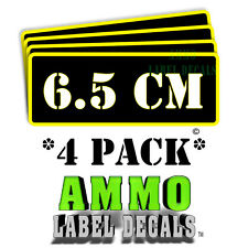 "6.5 CM Ammo Label Decals Ammunition Case 3"" x 1"" Can stickers 4 PACK -YWbkRD"