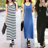Casual Stretch Cotton Silm Jersey OL Party Tank Long Dress Beach Cover Up dr131