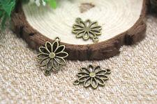 30pcs--Flower charms, Antique Bronze Filigree Flowers Pendant connector 25x19mm