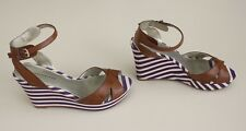 "TOMMY HILFIGER 7.5 TWDewey Brown Ankle-Strap 4"" Striped Canvas Wedge Shoes NWOB"