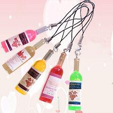 2pcs/lot Mini Resin Wine Bottle Keyring Keychain for Mobile Phone Bag Pendant AB