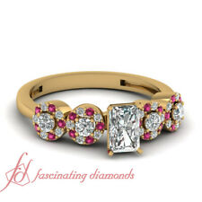 Pave Engagement Ring 0.80 Ct Radiant Cut Yellow Gold Diamond & Pink Sapphire GIA