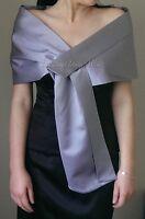 Silver/Grey Satin Shawl Pull Through Wrap/Stole/Bolero/Pashmina 3 Sizes New Tags