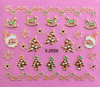 Christmas Tree GOLD Snowflakes Santa Rocking Horse 3D Nail Art Stickers Decals