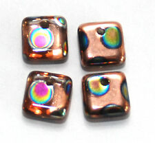 4 CZECH GLASS COPPER / PEACOCK SQUARE LENTIL BEADS WITH OFFSET HOLE, 6 X 6 MM