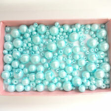200 Assorted Sizes 4mm 6mm 8mm 10mm Glass Pearl Beads Light Blue