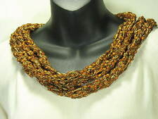 MEO CROCHET MULTICOLOR COPPER SILVER NYLON SKINNY SCARF BELT HEADBAND WRAP SHAWL