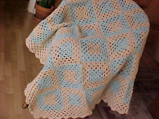 "LOVELY BRAND NEW HAND CROCHET AFGHAN BLANKET 44""x 44""  COLORS ARE TAN & BLUE"