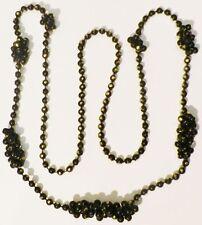 collier fantaisie bijou vintage année 70 grappe de perles noir couleur or * A19