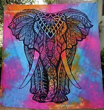 Mandala Tapestry Indian Cotton Wall Hanging Elephant Tie Dye Throw