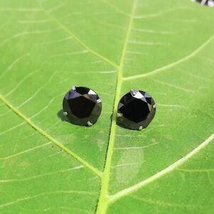 7mm 2x 2ct black sapphire studs earring