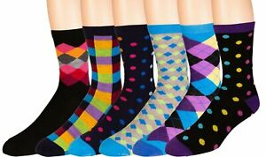 Men's Colorful Dress Socks 6 Pairs Fun Funky Assorted Patterned Socks Size 10-13