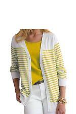 Jessica London Light Celery/White Stripe Long Cardigan Sweater,Size 12, NWT