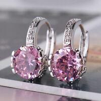 4Ct Round Cut Pink Sapphire Diamond Drop & Dangle Earrings 14K White Gold Finish