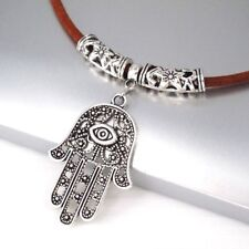 Mal De Ojo Mano de Dios Fatima Hamsa Kabbalah Encanto Colgante Collar De Cuero Marrón