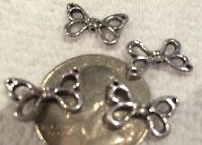 BEADS-Silvertone WING Beads/Spacers-BUTTERFLY-Angel-Fairy-Earrings-Antique X 20