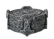 Norse Viking Vegviser Runic Compass Knotwork Thor Hammer Trinket Box Sculptural