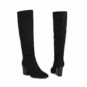 Womens Suede Casual Pointed Toe Block Heels Zip Knee High Boots Party Shoes Size